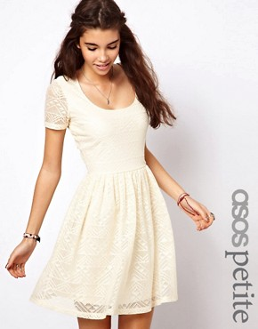 Image 1 of ASOS PETITE Skater Dress In Aztec Lace