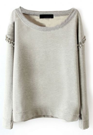 Light Grey Long Sleeve Rhinestone Pullover Sweatshirt