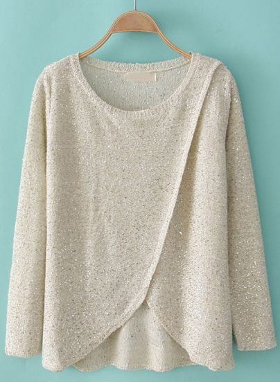 White Long Sleeve Sequined Cross Kint Sweater