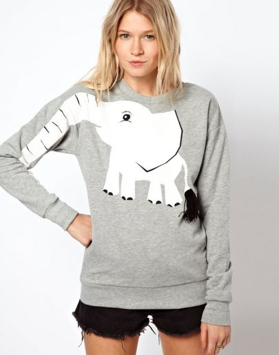 Grey Long Sleeve Elephant Print Sweatshirt