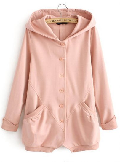Pink Hooded Long Sleeve Pockets Sweatshirt
