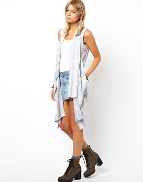 Image 1 of ASOS Waistcoat With Exaggerated Drape In Mixed Spot