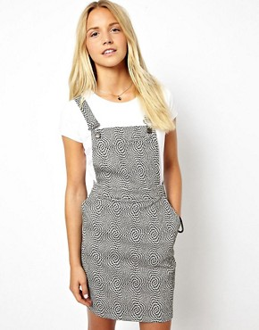 Image 1 of ASOS Mini Dungaree Dress In Optic Print