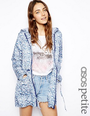 Image 1 ofASOS PETITE Rain Pac A Parka In Ditsy Floral