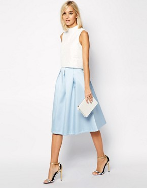 River Island Box Pleat Satin Midi