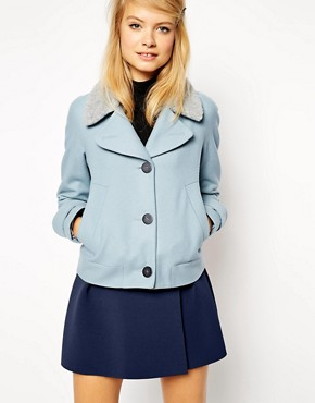 ASOS Jacket With Rounded Shoulder And Borg Collar